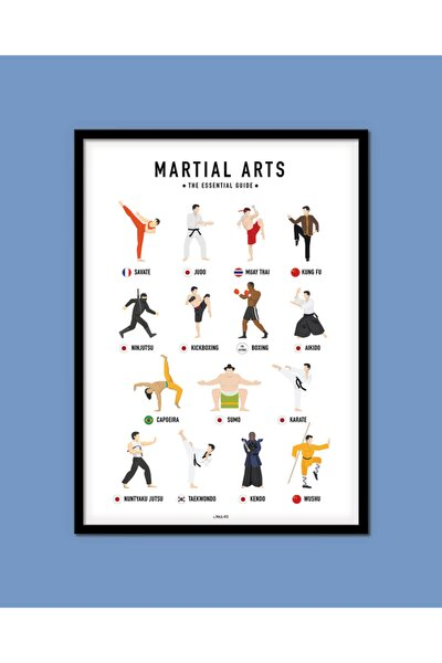 Dövüş Sanatları Tablo | 40x50 Cm | Özel Tasarım Siyah Çerçeveli Poster