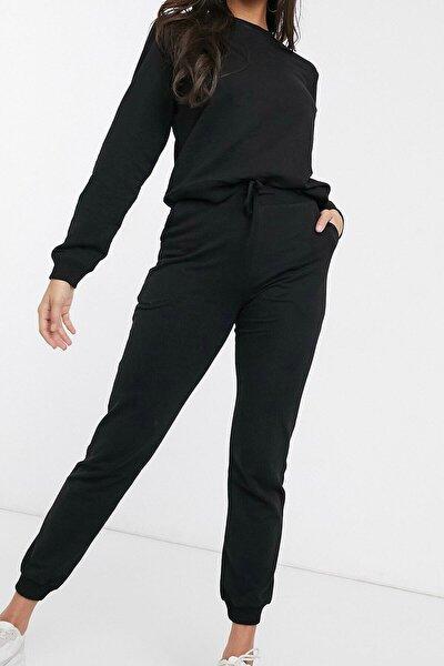Kadın Siyah Pamuklu Pijama Takımı