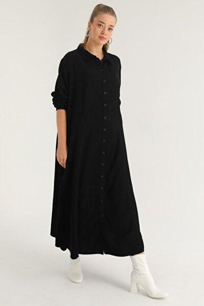 Kadın Büyük Beden Siyah Düğmeli Elbise