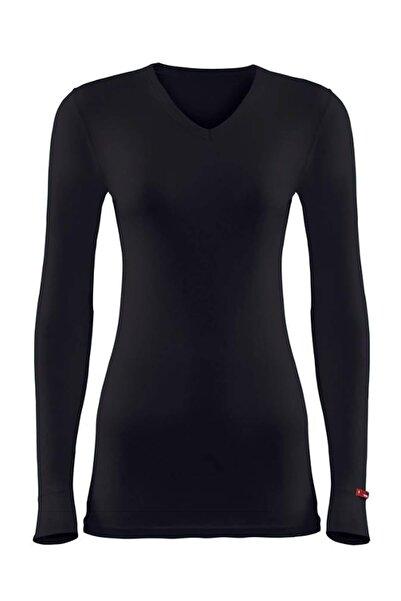 Kadın Siyah 2. Seviye Termal T-shirt 1257