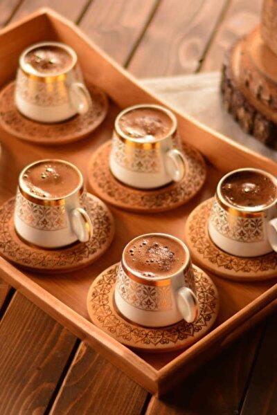 Ottoman - 6 Kişilik Kahve Takımı Desen Altlıklı