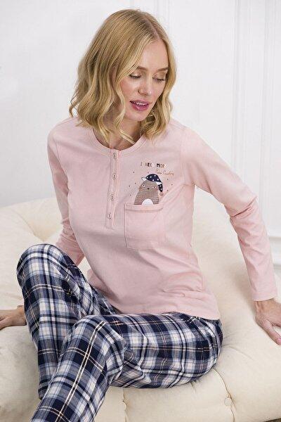 Kadın Somon Rengi Kadın Pijama Takımı 7611