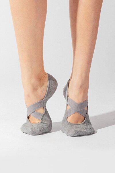 Asta Yoga Basic Görünmez Çorap - Gri Melanj
