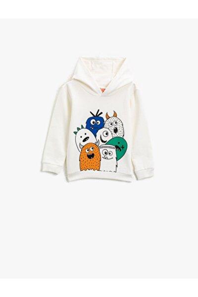 Erkek Bebek Beyaz Pamuklu Kapüşonlu Uzun Kollu Baskılı Sweatshirt