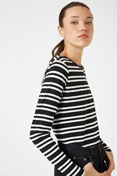 Kadın Beyaz Bisiklet Yaka Uzun Kollu Çizgili T-shirt 1kak12396ok