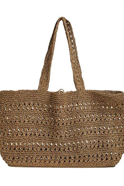 Kadın Kahverengi Delikli Doğal Shopper