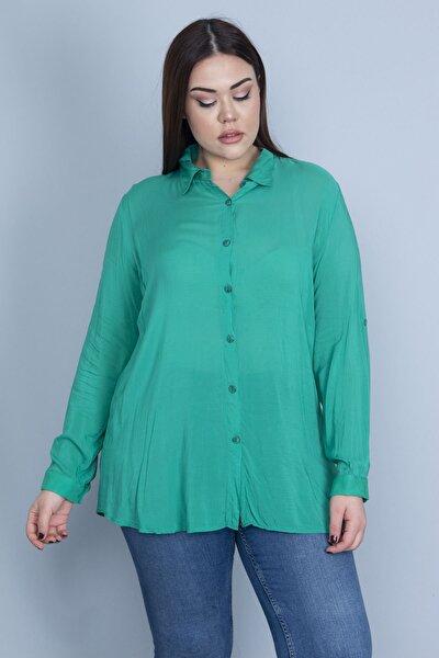 Kadın Yeşil Ön Düğmeli Bluz 65N23122