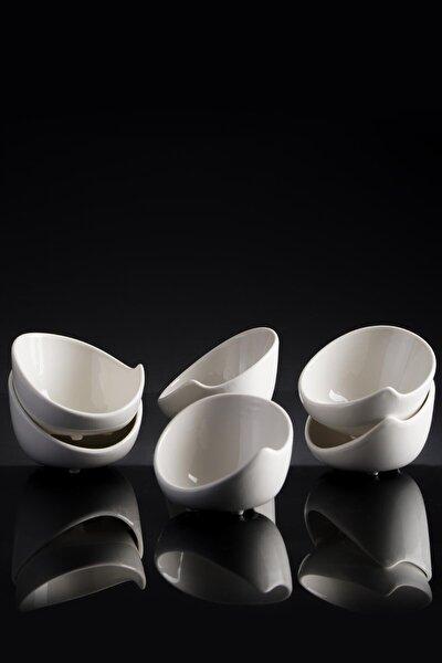 La Pure 6'lı Porselen Oval Sunum Sosluk - 8 Cm