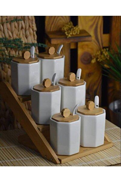 La Pure 6lı Bambu Standlı Porselen Baharat Seti 010999