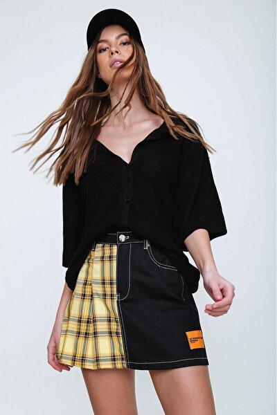 Kadın Siyah Polo Yaka Önü Düğmeli Triko Hırka Bluz ALC-X6082