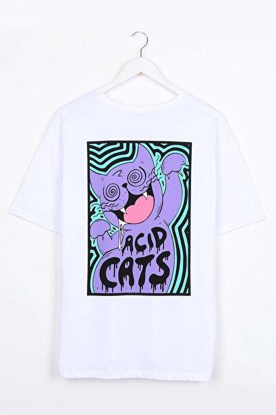 Acid Cat Sırt Baskılı Beyaz Oversize Unisex Tshirt