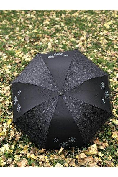 Rüzgarda Kırılmayan Kar Tanesi Desenli Puantiye Detaylı Siyah Kadın Şemsiye