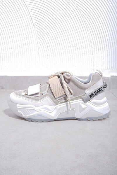 Kadın Beyaz Rugan Spor Ayakkabı 65140