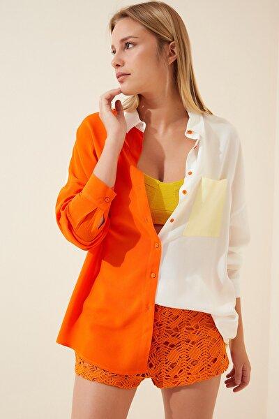 Kadın Oranj Blok Renkli Oversize Viskon Gömlek DD00843