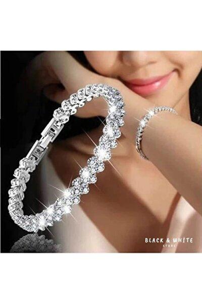 """Gümüş Detay Bileklik """" Kristal """" Desen (Silver)"""