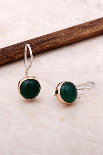 Yeşil Akik Elişi Trend Gümüş Küpe 5061