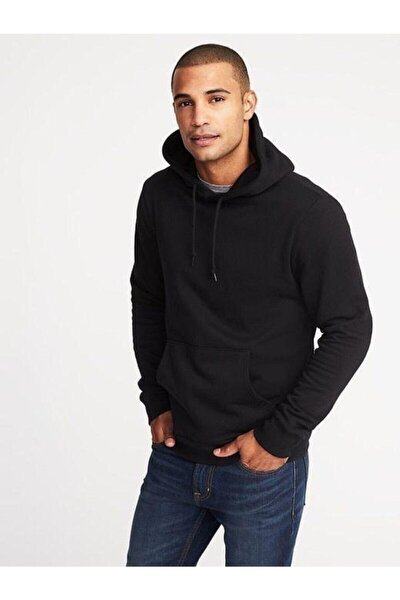 Erkek Siyah Kapüşonlü Sweatshirt Lüx