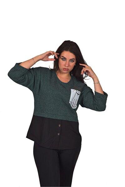 Yeşil Garnili Düğme Detaylı Büyük Beden Kadın Bluz Ult3816