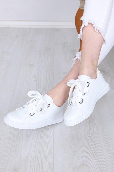 Beyaz Kalın Bağcıklı Kadın Spor Ayakkabı