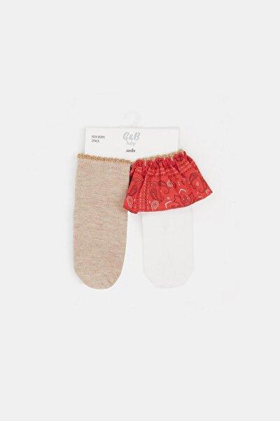 Kız Bebek Renkli 2li Çorap 20pfwbg2084