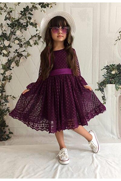 Şapkalı, Güpürlü, Prenses Model Kız Çoçuk Elbisesi