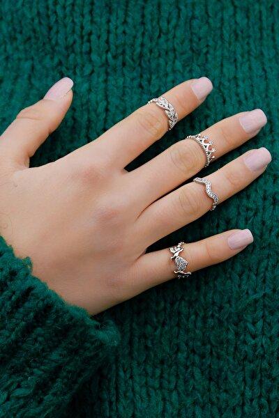 Zirkon Taşlı Eklem Yüzüğü 4 Lü Set