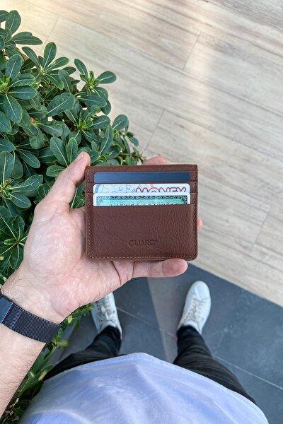 Hakiki Deri Kartlık - Para Bölmeli / Taba