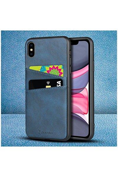 Apple Iphone Xs Max Kılıf Zebana Swank Cepli Kılıf Mavi