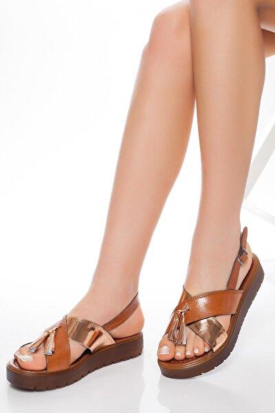 Hakiki Deri Taba Altın Kadın Deri Sandalet Rma-3110