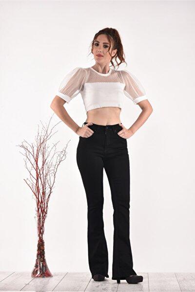 Yüksek Bel Ispanyol Paça 823 Model Black Bayan Jeans Pantolon