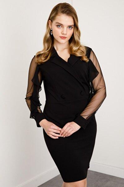 Kadın Siyah Kruvaze Tül Detaylı Elbise