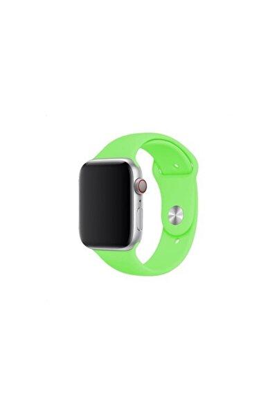 Apple Watch 38 - 40 Mm Spor Kordon Silikon Kayış Neon Yeşil
