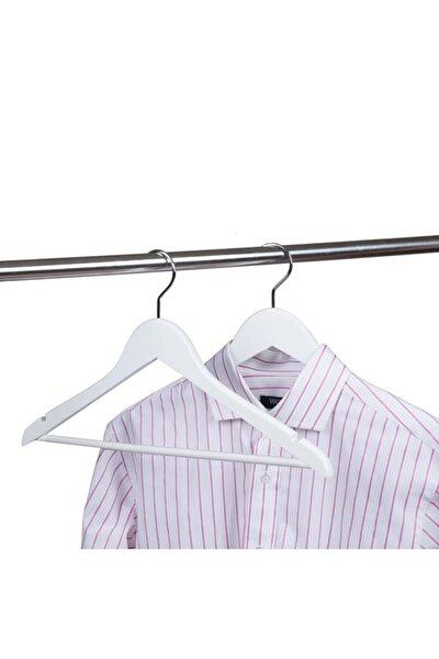 24 Adet Ahşap Görünümlü Plastik Beyaz Elbise Askısı