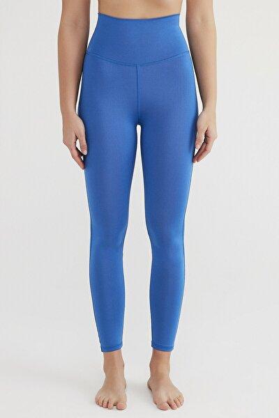 Kadın Mavi Süper Stretchy Yüksek Bel Tayt