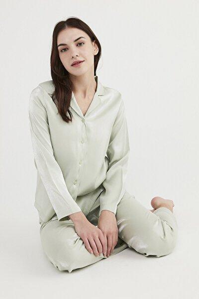 Mint Saten Pijama Takımı