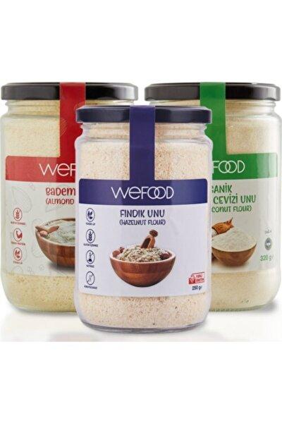 Organik Hindistan Cevizi 320 gr +badem Unu 250 gr + Fındık Unu 250 gr
