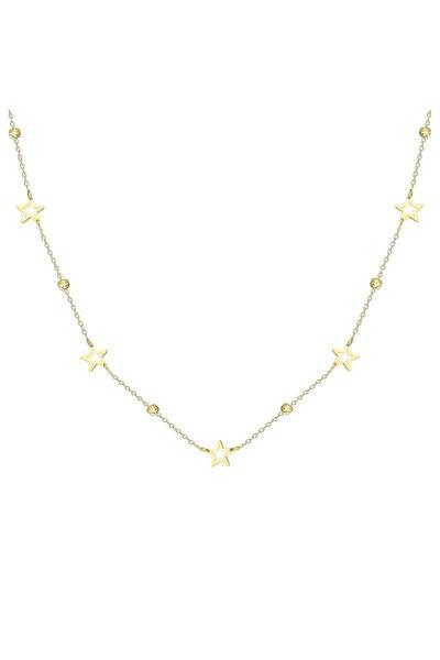 Kadın Sarı Altın Dorika Yıldız Kolye