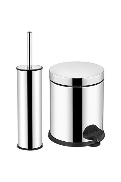 Krom Pedallı Çöp Kovası Ve Wc Fırça Seti 3 lt