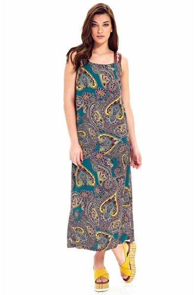Kadın Sarı Omuzları Halkalı Kolsuz Desenli Uzun Elbise 019-03-4050