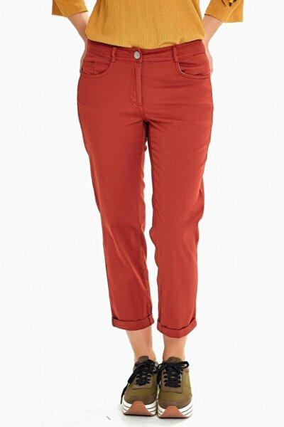 Kadın Tarçın Cepli Paçası Kıvırmalı Parça Boya Pantolon