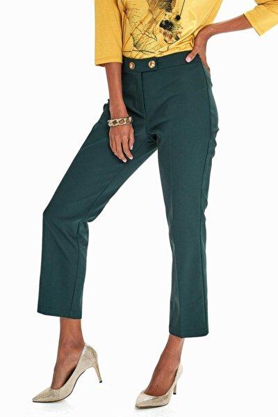 Kadın Yeşil Beli Çift Düğmeli Relax Fit Pantolon 190-3515