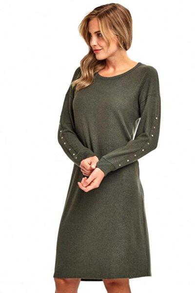 Kadın Haki Kolları Taş Ve Metal Boncuklu Elbise