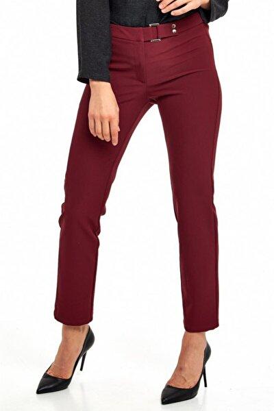 Kadın Bordo Beli Tokalı Standart Fit Pantolon 190-3503