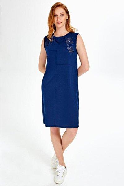 Kadın Lacivert Göğsü Tül Ve Nakışlı Kolsuz Elbise 019-03-2508