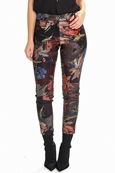 Kadın Siyah Standart Fit Desenli Pantolon 190-3524