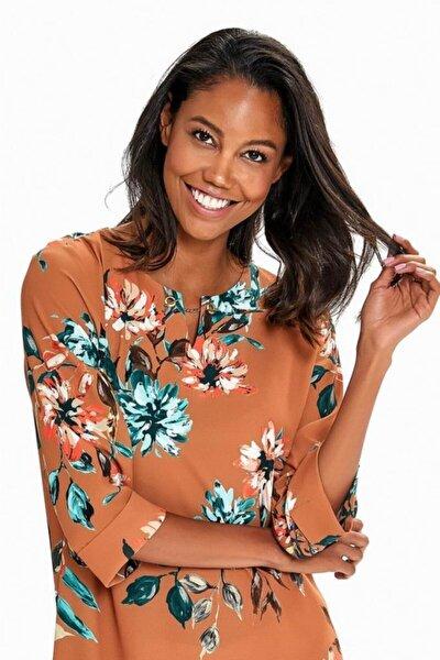 Kadın Kahverengi Yakası Metal Tokalı Desenli Elbise 190-4013
