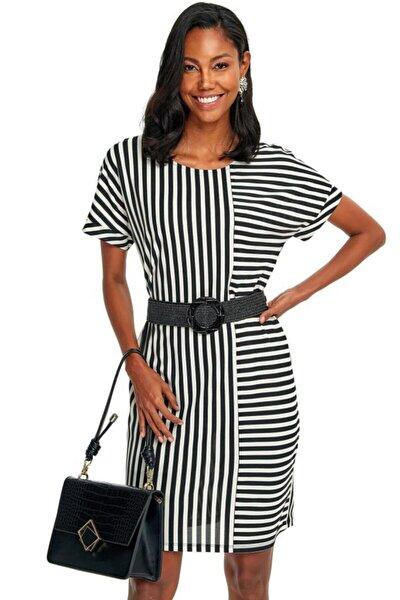 Kadın Siyah Beli Kemerli Çizgi Desenli Elbise 020-2520