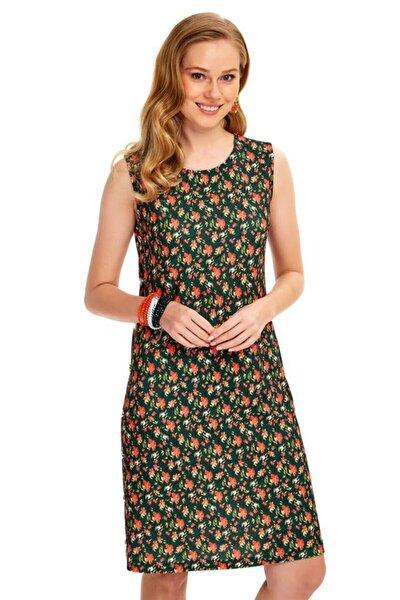 Kadın Yeşil Yanları Çıtçıtlı Çiçek Desenli Elbise