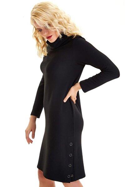 Degaje Yaka Eteği Çıtçıtlı Elbise 201-2517