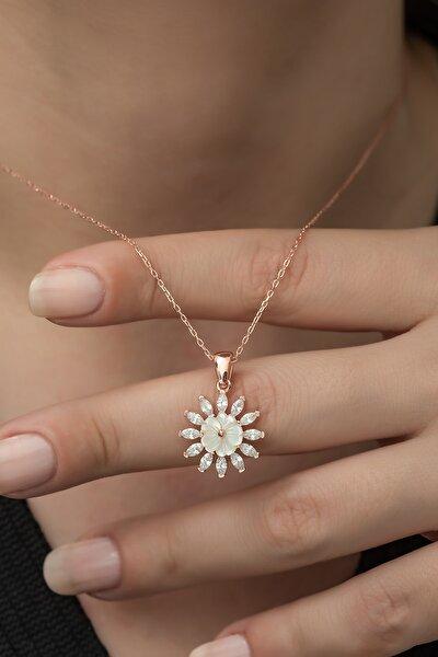 Kadın Rose Manolya Çiçeği 925 Ayar Gümüş Kolye
